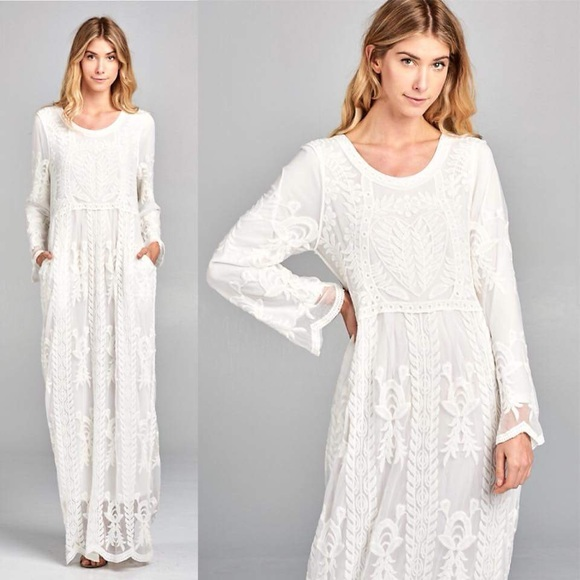 6b38a0a228 Dresses | Boho Chic White Lace Maxi Dress Pocket Long Sleeve | Poshmark